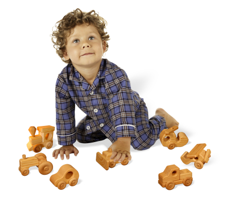 Child playing with wooden toys