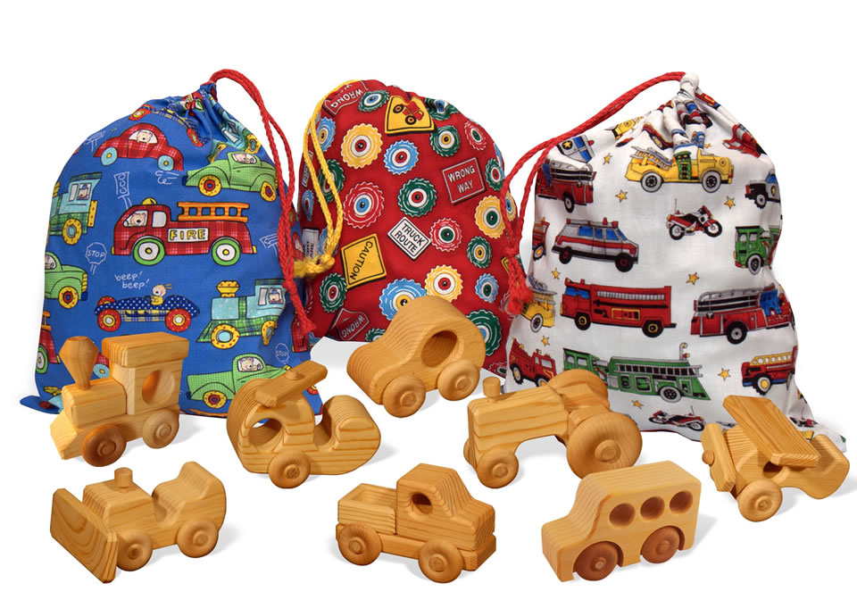 totes with wooden toys
